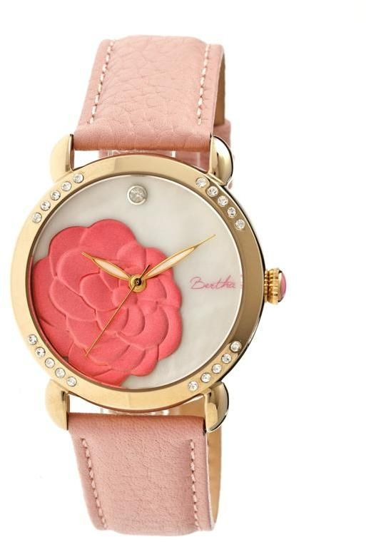 Bertha Watches Bertha Women's Daphne Mother-of-Pearl Dial Leather Strap Bracelet Watch