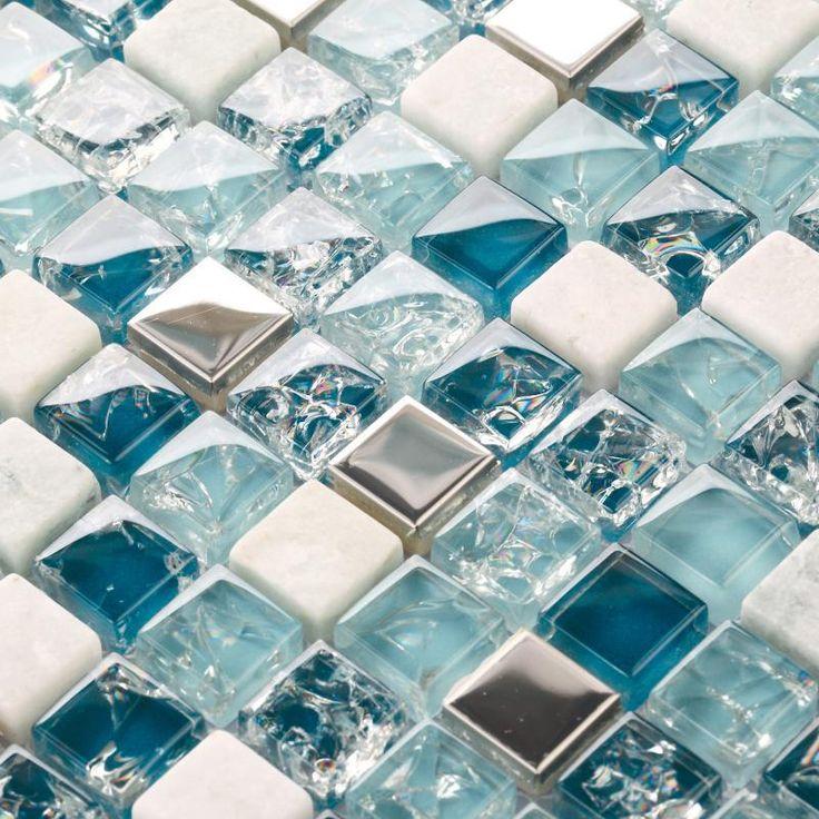 Crackle glas steen glasmozaïek backsplash tegel keuken badkamer spiegel douche muurstickers blauw metalen steen glas tegels uk(China (Mainland))