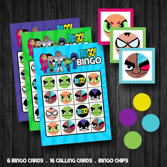 INSTANT DOWNLOAD Teen Titans Go Inspired Bingo Games by ChaliceTee