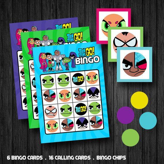 INSTANT DOWNLOAD Teen Titans Go Inspired Bingo Games by ChaliceTee