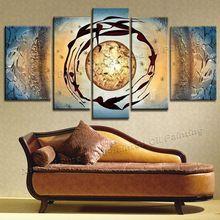 100% el-boyalı 5 parça tuval sanat soyut resim tuval yağı tuval boyama hayat dans resimleri için oturma odası duvar(China (Mainland))