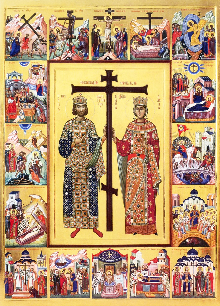 terrific icon of Holy Emperors Constantine and Helen, who found the Lord's Cross