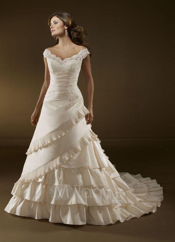 A Line V Neck Embroidery Sleeveless Chapel Train Satin Wedding Dress Ivory Vintage Off The Shoulder Dresses