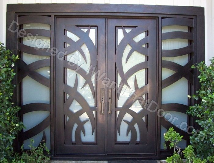 tropical iron door with sidelights