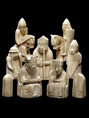 The Lewis Chessmen, probably made in Norway, about AD 1150-1200. At this period, the Western Isles, where the chessmen were buried, were part of the Kingdom of Norway, not Scotland. It seems likely they were buried for safe keeping on route to be traded in Ireland.