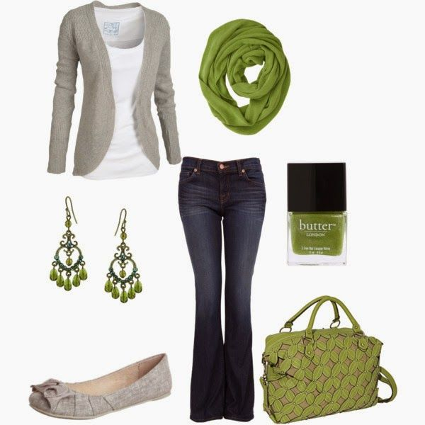 Casual Outfit: Shoes, Green And Gray, Dreams Closet, Green Scarves, Color, Green Accent, Cute Outfits, Fall Outfits, Casual Outfits