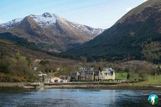 The superbly placed Ballachulish Hotel on the drive to Glen Coe in the Scottish Highlands