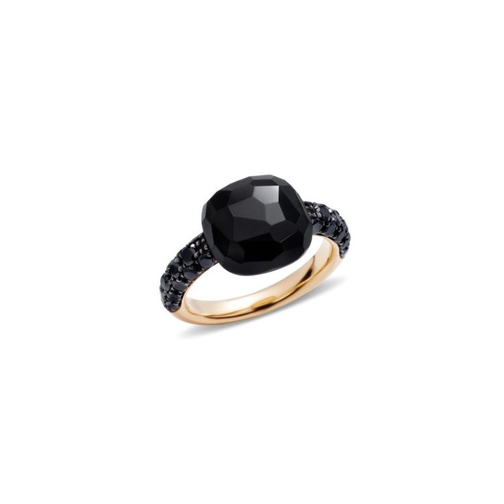 Pomellato Online Store - Capri Rose Gold Ring With Faceted Cushion Cut Onyx And Black Diamonds (0.68 CT)