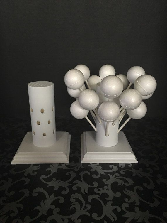 Two White Stands Each Holds 18 Cake Pops All by allwoodcreations78