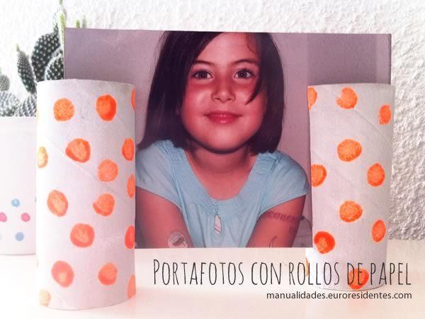Marco de fotos DIY. Manualidades con rollos de papel. Paper roll photo frame