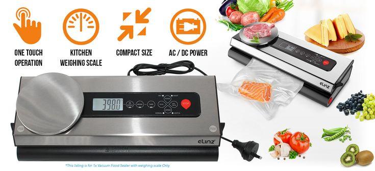 Stainless Steel Vacuum Food Sealer Bags Packaging Saver Kitchen Weighing Scale Storage Machine
