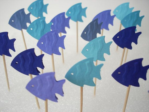24 Decorative mixed blue fish toothpicks party picks by BelowBlink, $3.50