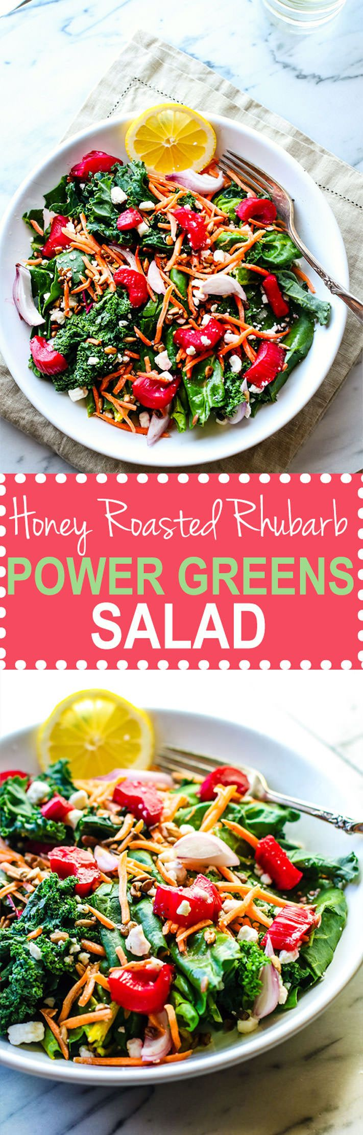 Healthy and Delicious Honey Roasted Rhubarb Power Greens Salad! A vegetarian honey roasted rhubarb salad jammed packed with nourishment and bursting with flavor. Simple to make, vegetarian, and gluten free!