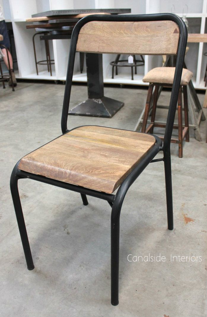 Elementary Industrial Dining Chair - Distressed Black - Canalside Interiors