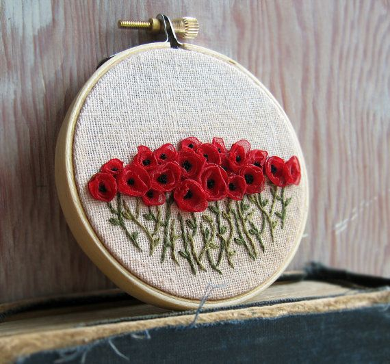 Poppy Ribbon Embroidery by Sidereal on Etsy. LOVE THIS!