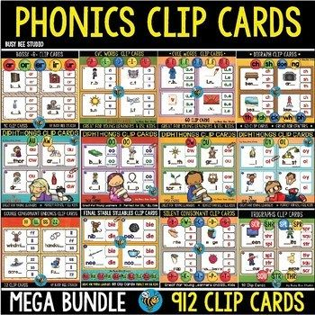 Phonics Clip Cards Centers Mega Bundle includes 25 sets of phonics clip cards. There are 912 clip cards in this mega bundle.This Bundle is great for literacy centers, phonics instruction. These cards are a great way to practice phonics skills while having fun.  #phonics, #phonicsreading, #phonicsgames