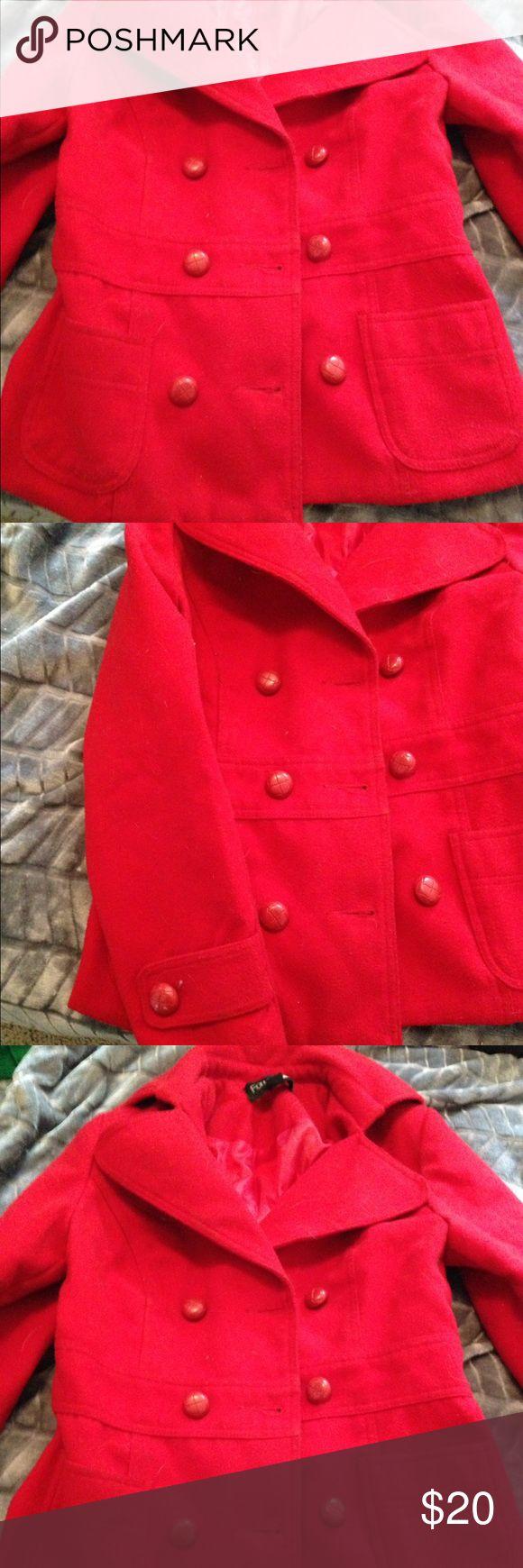 Red pea coat Used red pea coat Forever 21 Jackets & Coats Pea Coats