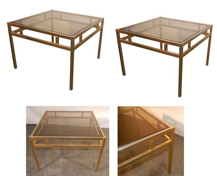 paire de bout de canapes en metal vernis dore et verre teinte vers 1970 tables design vintage. Black Bedroom Furniture Sets. Home Design Ideas