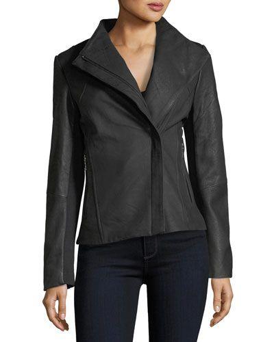 Kelly Asymmetric-Zip Peplum Leather Jacket