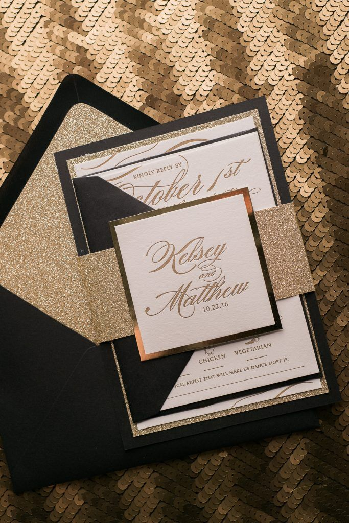 Wedding Invitations Letterpress Black Tie Wedding Black