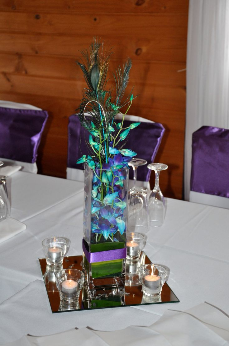 Singapore Orchid Peacock Feather Wedding Table Centerpiece Purple Peacock Paua Themed