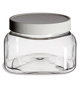 For sugar scrub packaging.  Clear Square 8oz Plastic Jar w/ White Flat Lid 86 cents each