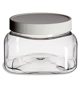 For sugar scrub packaging.  Clear Square 8oz Plastic Jar w/ White Flat Lid 86 cents each