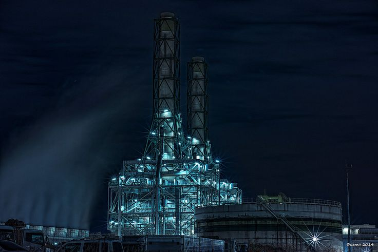 HDR Photo: Factory night view 'Twins chimney'