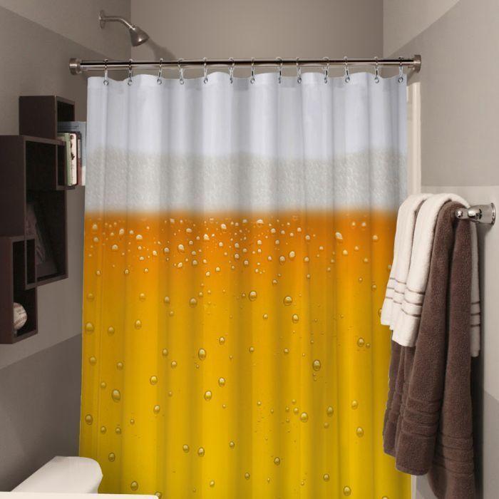 Rideau de douche possède l imprimé d'une bière ref 242
