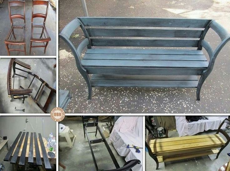 Bench made from two chairs