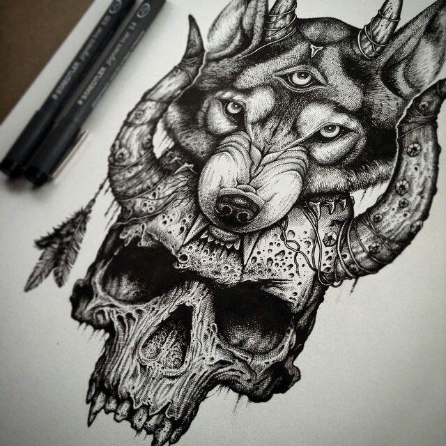 Wolg biting a skull, black ink dot drawing