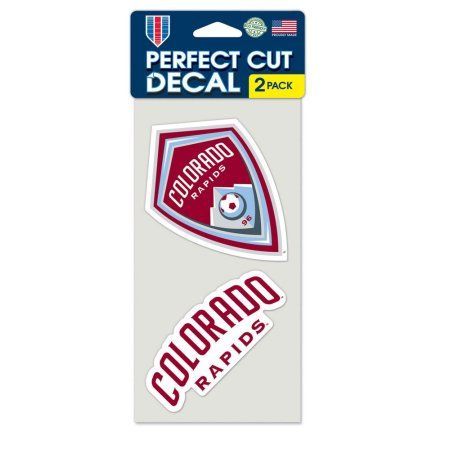 Colorado Rapids Official MLS 4 inch x 4 inch Each Die Cut Car Decal 2-Pack by Wincraft, Multicolor