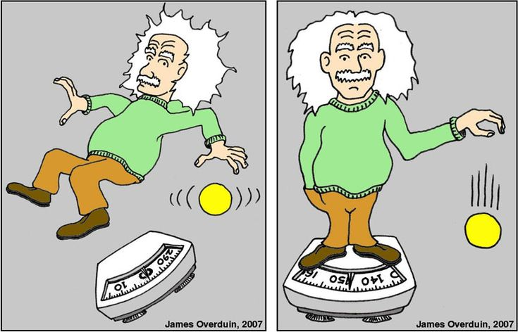Illustration of the equivalence principle, showing a caricature of Einstein in freefall with with a scale and ball floating nearby (left) and a caricature of Einstein standing on a scale with a weight of ~140 lbs, with a ball falling nearby (right)