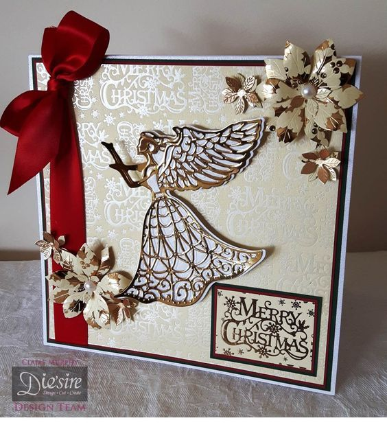 8x8 tent card made using the Guardian Angel from the Sara Signature Traditional Christmas collection. Designed by Claire Murphy #crafterscompanion #Christmas