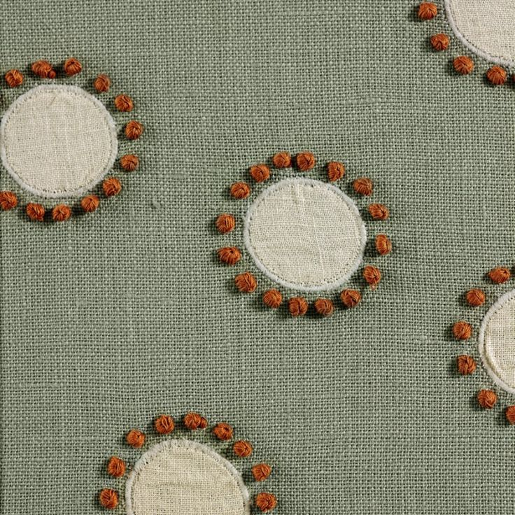 Betty by Chelsea Textiles, hand embroidered fabric with appliqué and french knots - comes in other colour-ways