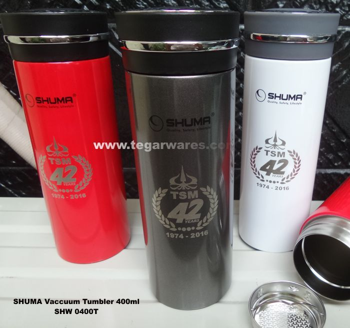Shuma Stainless Steel Tumbler Vaccuum SHW400T types 400ml capacity is available in three colors: red, gray and white. With branding logo TSM 42 1974 -2016, Tegarwares as the main distributor of SHUMA flask and tumbler for souvenir and promotional items received an orders from be distributed as a gift to the university rector,  lecturer, Student Senate and other invited guests at the commemoration of the anniversary of the 42th Trisakti School of Management, Jakarta Indonesia.
