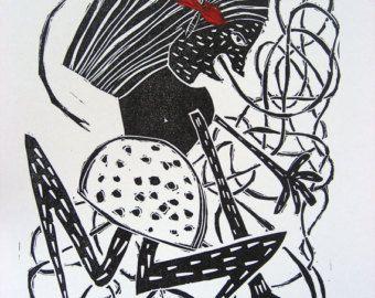 Frog-vrouw Linosnede-hoogdruk (boekdruk) afdrukken in zwart en rood. Dierlijke Print. Meisje slaapkamer dierlijke kunst. De Decor van het huis.