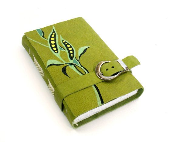 Back to School  Green Journal  Leather Cover Notebook  by Baghy, $44.00