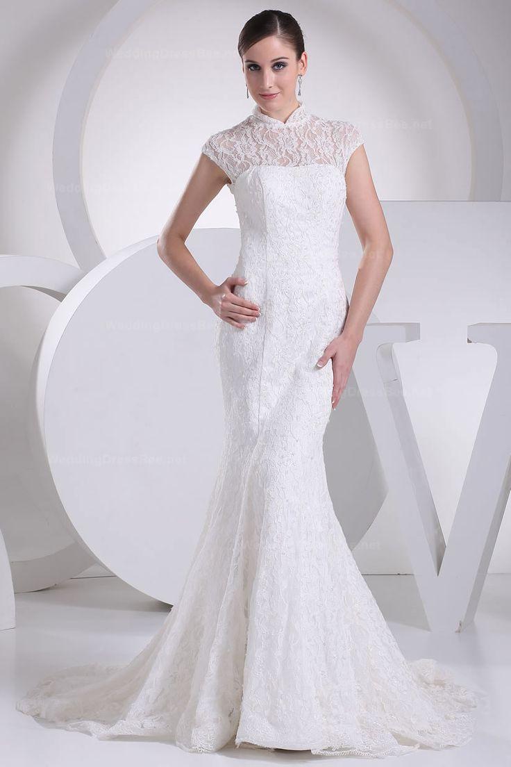 cheap wedding dresses wedding dress shop online Best Graceful High Neck Lace Mermaid Wedding Dress Shop Online for Cheap Wedding Dresses