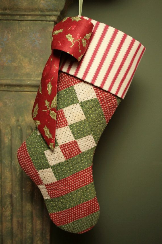 quilting christmas stockings | Antique 19th Century Quilt Christmas Stocking by ChristmasIsLove