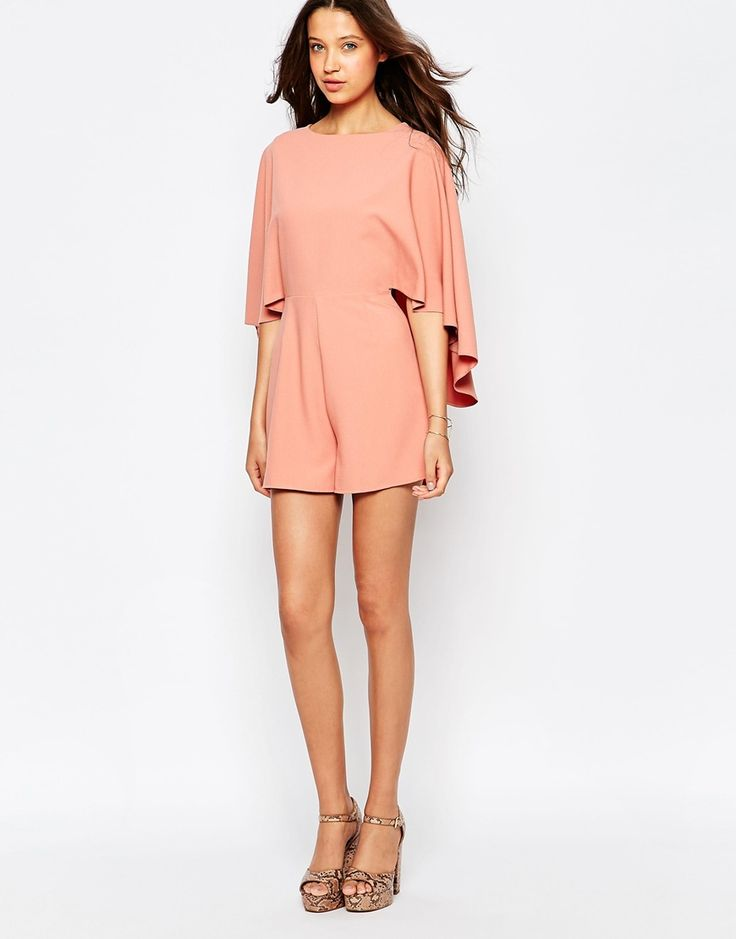 Image 4 of ASOS TALL Playsuit with Cape Sleeve