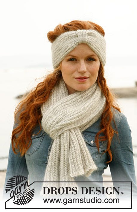 """Set consists of: Knitted DROPS head band and scarf with English rib in """"Alpaca"""" and """"Kid-Silk"""". ~ DROPS Design"""