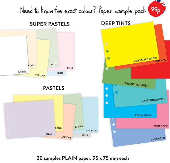 Essential 50 pages MEAL PLANNER notepaper refill to fit Filofax Personal size binder and other similar binders.  Classic colours to suit everyones needs. Beautiful premium paper. - 50 pages (25 sheets) - Premium paper 80 gsm - Punched 6 holes  Necessary bits Please note that actual colours may vary depending on the settings of your computer screen. Send in cellophane bag and in protected envelope. Industrially printed, guillotined and hole punched.  Please see other items to find more…
