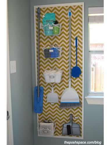 Get your laundry room organized with a smart and attractive organizing strategy like this DIY pegboard system project.
