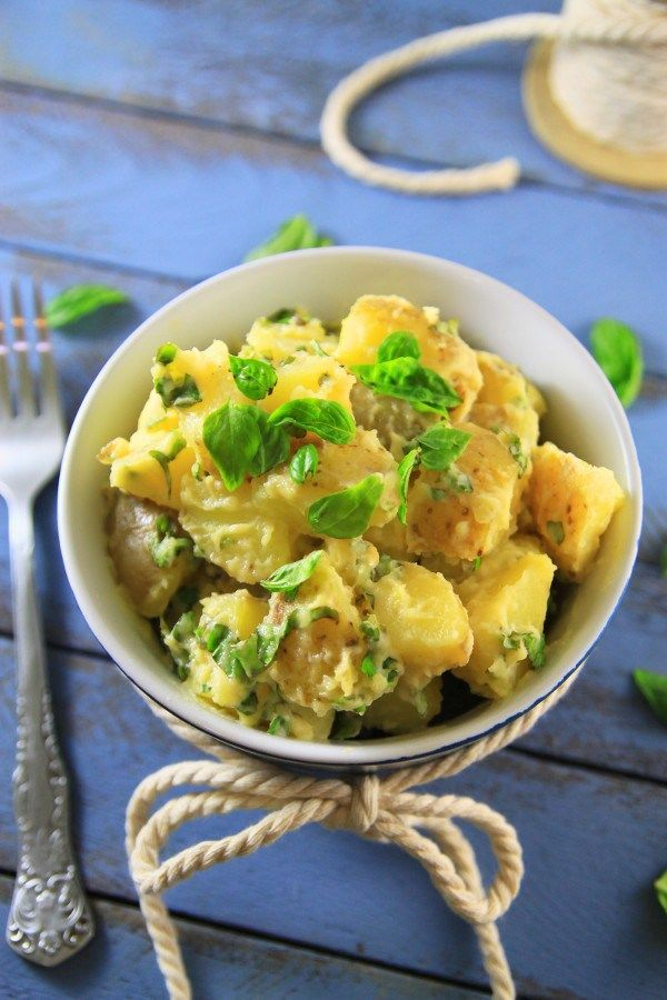 4 ingredient, Gluten Free Potato Salad with Mayonnaise and lot's of Basil from Barcelona