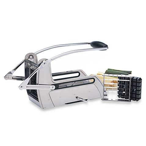 Quickly and easily cut produce into even sticks for french fries or party trays with this durable stainless steel slicer. Cuts whole potatoes in one swift motion.