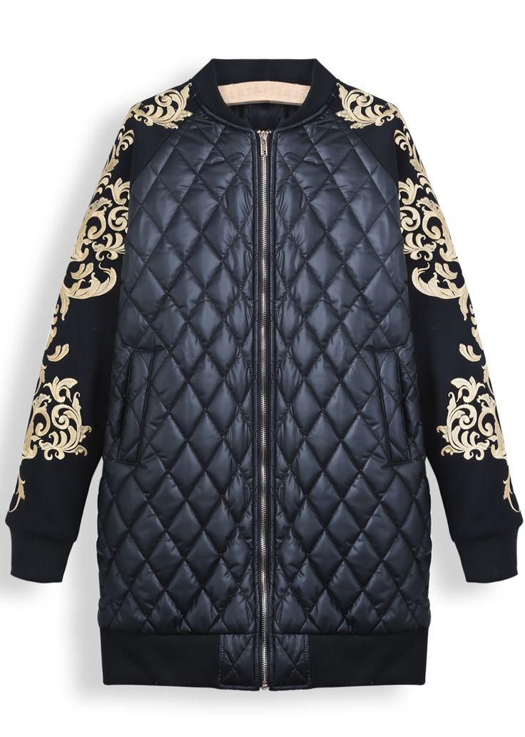 Black Long Sleeve Metallic Yoke Diamond Patterned Parka EUR€44.90