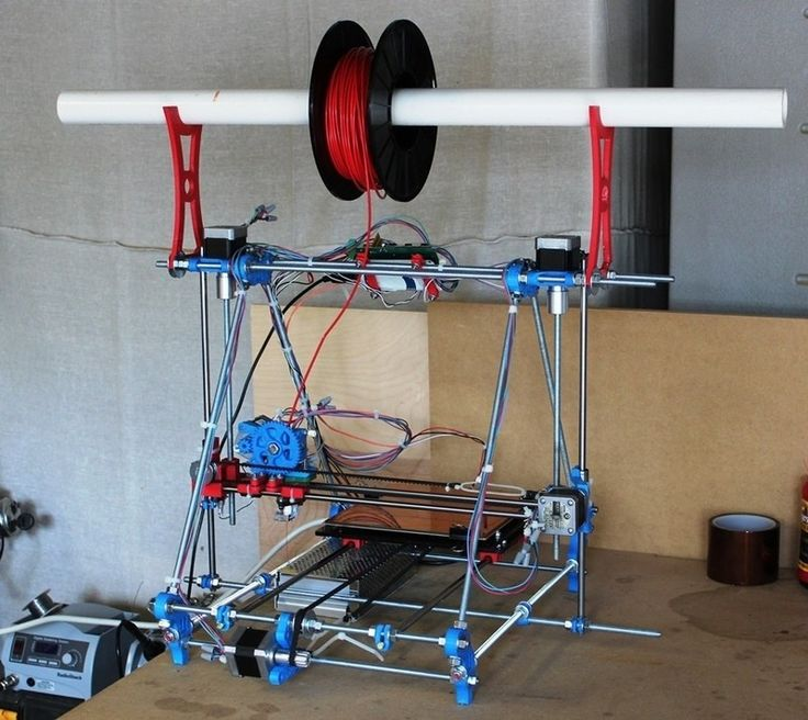 3D Printer by Jamie Cunningham -- Homemade 3D printer constructed from aluminum and 3D-printed parts. http://www.homemadetools.net/homemade-3d-printer-6