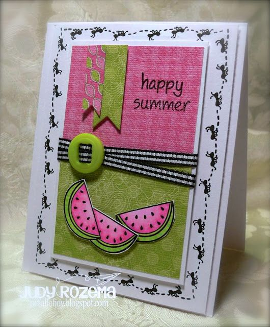 Lawn Fawn - Happy Summer_ Love the ant border on this adorable card by Judy