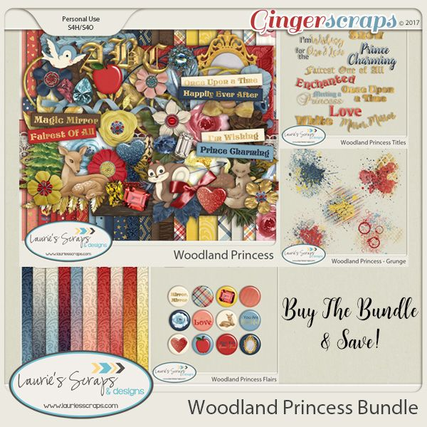 Woodland Princess Digital Scrapbooking kit. Great for those Disney Snow White princess layouts!
